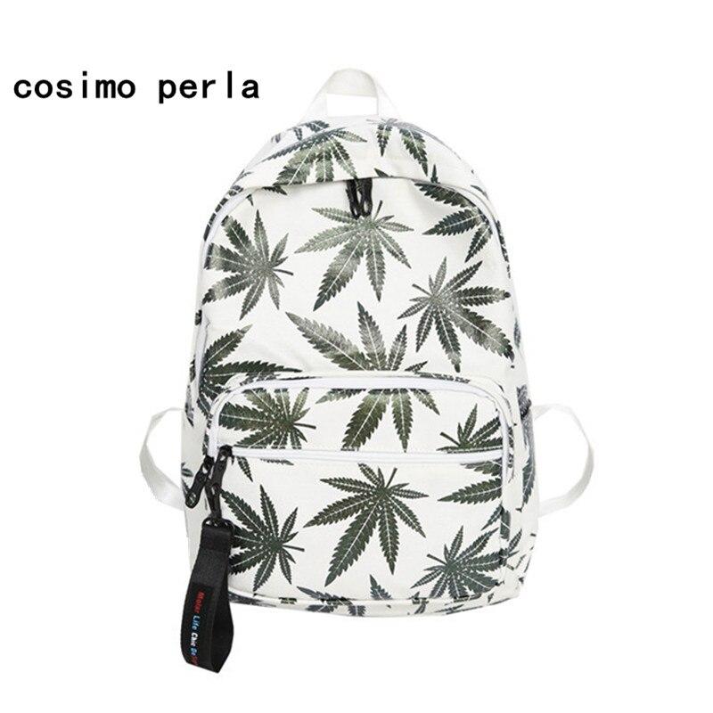 Maple Leaves Printing Backpack Female Japan Style Harajuku Canvas Backpacks For Teenage Girls Boy Schoolbag Rucksacks Laptop Bag