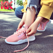 Купить с кэшбэком KemeKiss Women Flats Shoes Lace Up Casual Lace Up White Shoes Women Round Toe Air Mesh Outdoor Trainers Sneakers Size 35-39
