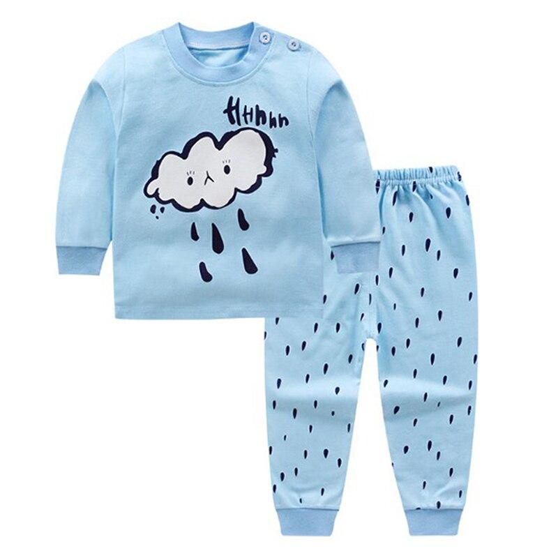 Детская одежда из 2 предметов для маленьких мальчиков и девочек, топ+ штаны, хлопковые пижамы для малышей, одежда для сна - Цвет: 4