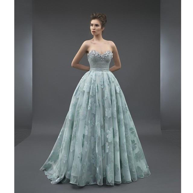 be37e113c119 Robe De Soiree Pretty Flower Pattern Sage Lace Long Formal Party Dress  Sweetheart Off Shoulder A-line Prom Gowns Beaded Abiye
