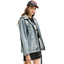 2017 New Arrival S-M Jacket Women Women's Clothing Denim Jacket Jeans Long Sleeve with Hood Autumn Jacket Women Wear in Blue