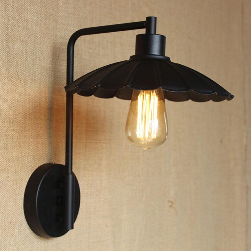 Loft Style Umbrella Droplight Retro Vintage industrail metal wall lamp for hallway / bar counter/balcony /bedroom / livingroom