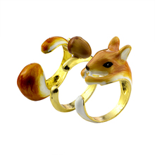 Cute Three Piece Set Squirrel And Acorn Rings For Women Men Anel Bague Gold Color Animal Aneis Feminino Exclusive Enamel Jewelry
