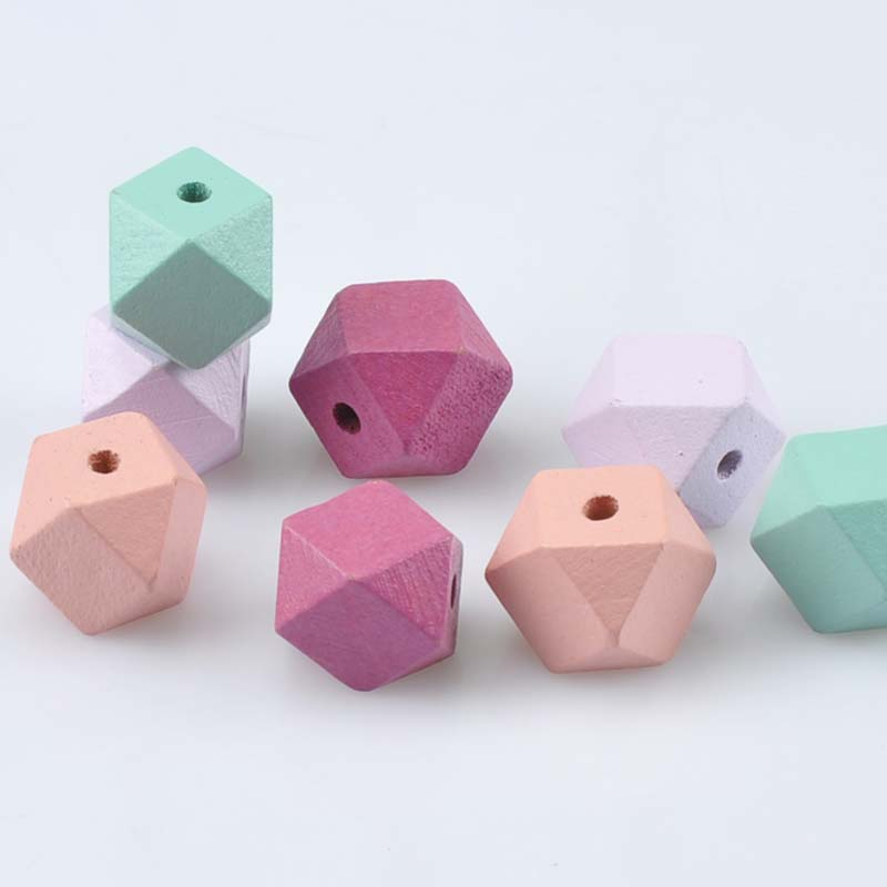 Beads Jewelry & Accessories 10pcs 20mm Gold And Silver Wooden Cube Unfinished Geometric Beads For Jewelry Making Necklace Diy Teething Jewelry Bead