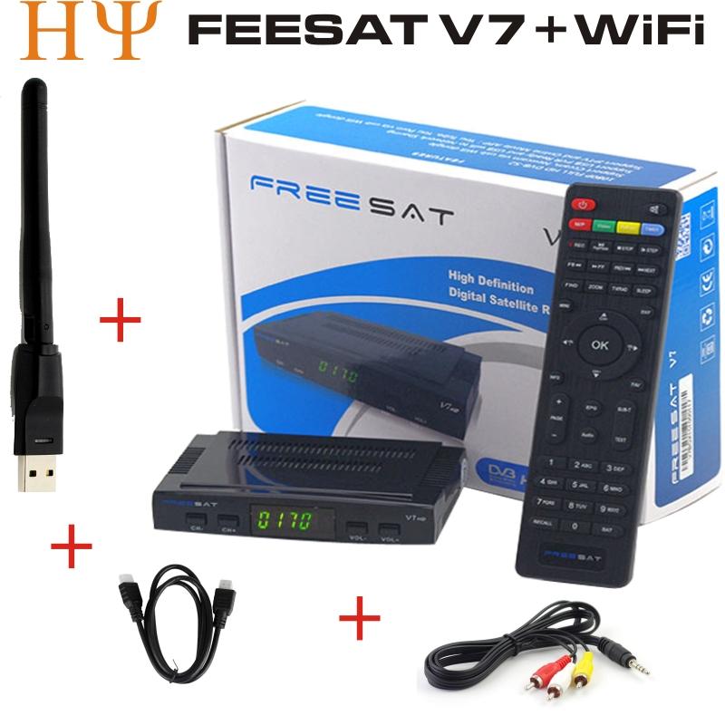 Prix pour Freesat V7 3 pcs HD Récepteur Satellite Plein 1080 P + 3 PC USB WiFi DVB-S2 HD Soutien Cam powervu youpron set top box puissance vu
