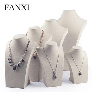 Fanxi Linen Cream-white Necklace Mannequin Bust Pendant Jewelry Display Stand Holder Shelf Showcase Jewelry Organizer