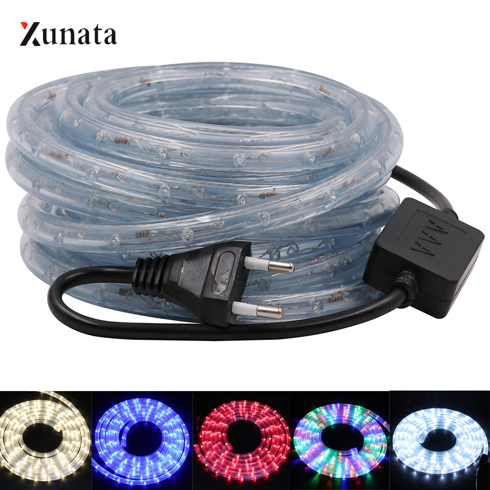 AC220V RGB Neon Light Round Tube LED Strip Flexible Waterproof LED Light Ribbon 36Leds/m EU Plug Led Tape Indoor Outdoor Decor