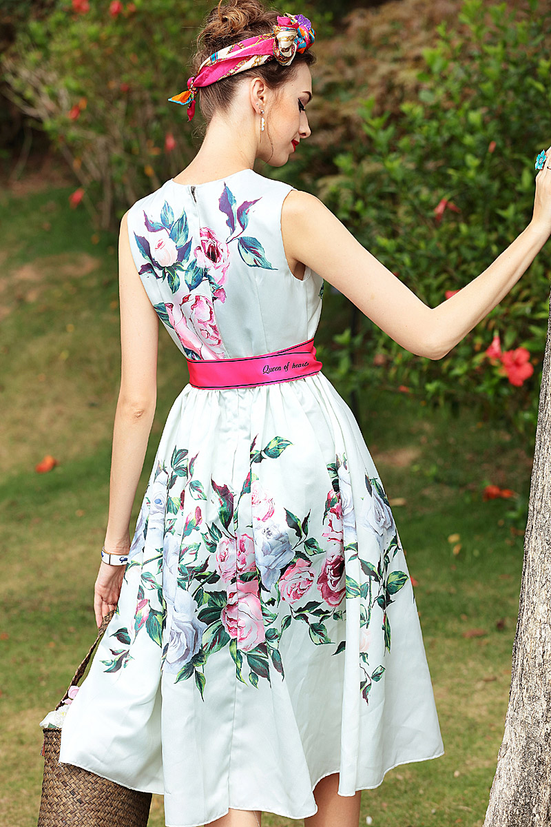 XF 2018 Latest Fashion Designer Runway Summer Boho Women 39 S Round Neck Sleeveless Ribbon Rose Flower Floral Print Slim Dress in Dresses from Women 39 s Clothing