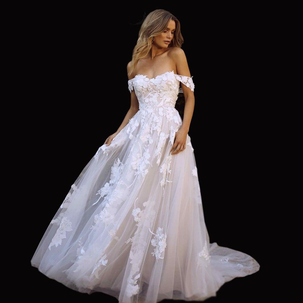 Lace Beach Wedding Dresses 2019 Off the Shoulder Appliques A Line Boho Bride Dress Princess Wedding