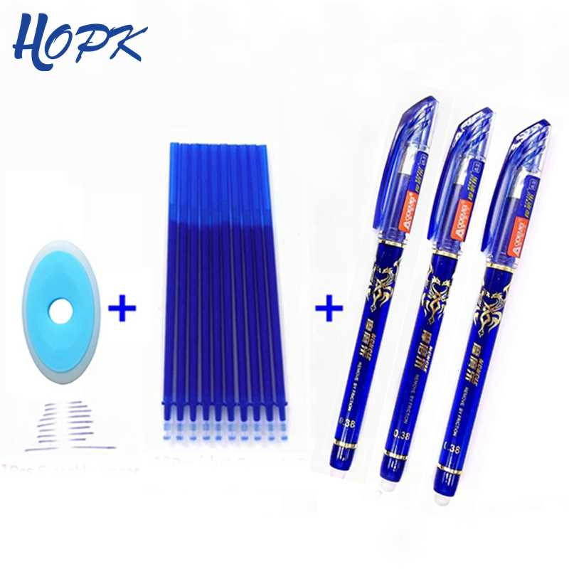 14Pcs/ lot Erasable Refill Rod Washable Handle Erasable Ballpoint Pen 0.38mm Blue Black Ink School Office Writing Stationery