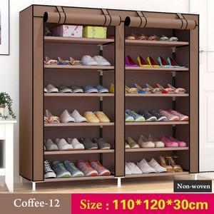 Image 5 - 43.3 cal 6 warstwa 12 grid nietkane materiały duży organizator na buty w formie regału wymienny do przechowywania butów dla dom umeblowanie szafka na buty