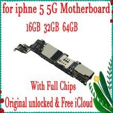 100% оригинал разблокирована для iphone 5 5G материнская плата с системой IOS, для iphone 5 логическая плата с полным чипом, 16 ГБ/32 ГБ/64 ГБ