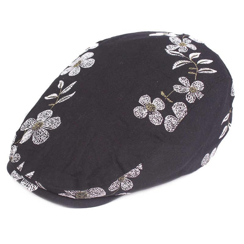 Повседневные Кепки из хлопка для мужчин и женщин модные регулируемые летние береты открытый солнцезащитный берет шляпа кость взрослых Цветочные кепки с плоским козырьком