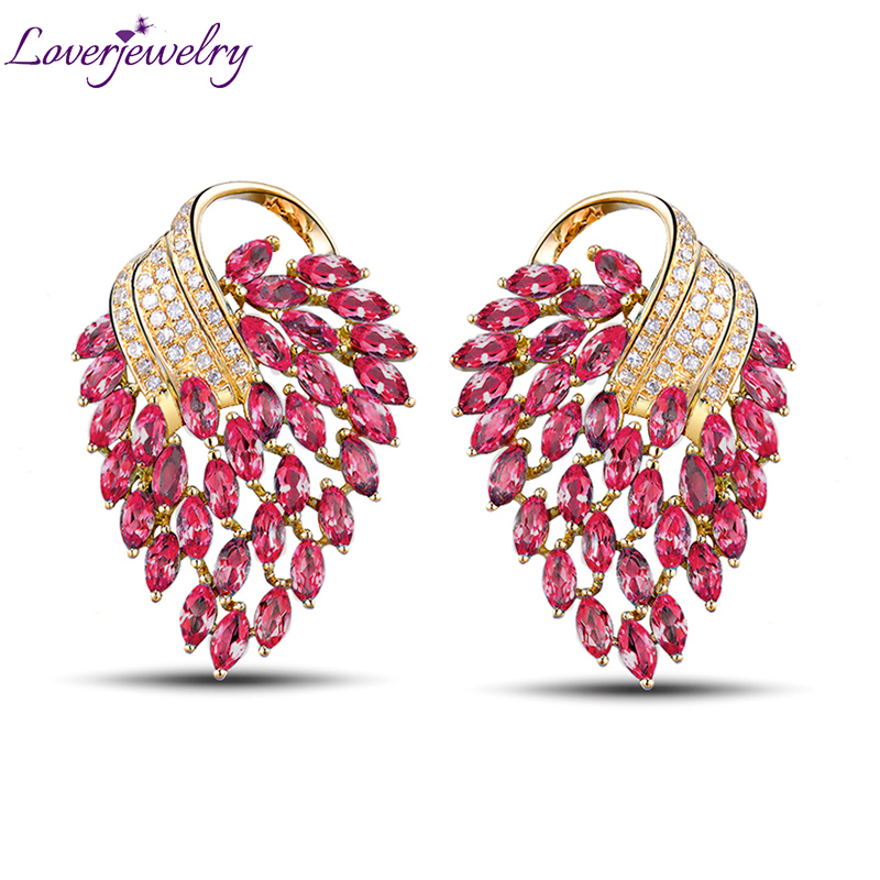 Earrings For Women Vintage Party Fine Jewelry 18K Yellow Gold Natural Diamonds Pink Red Ruby Earrings