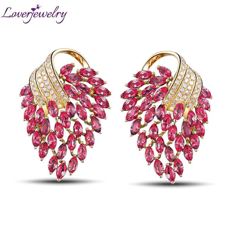 LOVERJEWELRY Винтаж Для женщин вечерние 18 K желтое золото природных алмазов Розовый и красный цвет Рубиновые Серьги Fine Jewelry для Для женщин украшен