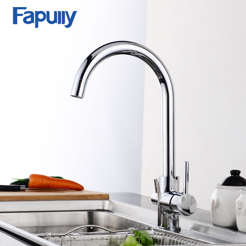 Fapully Solid Brass Chrome Water Purifier Kitchen Faucet 3 Way Double Function Faucet Mixers Tap Cold and Hot Faucets 571-33C
