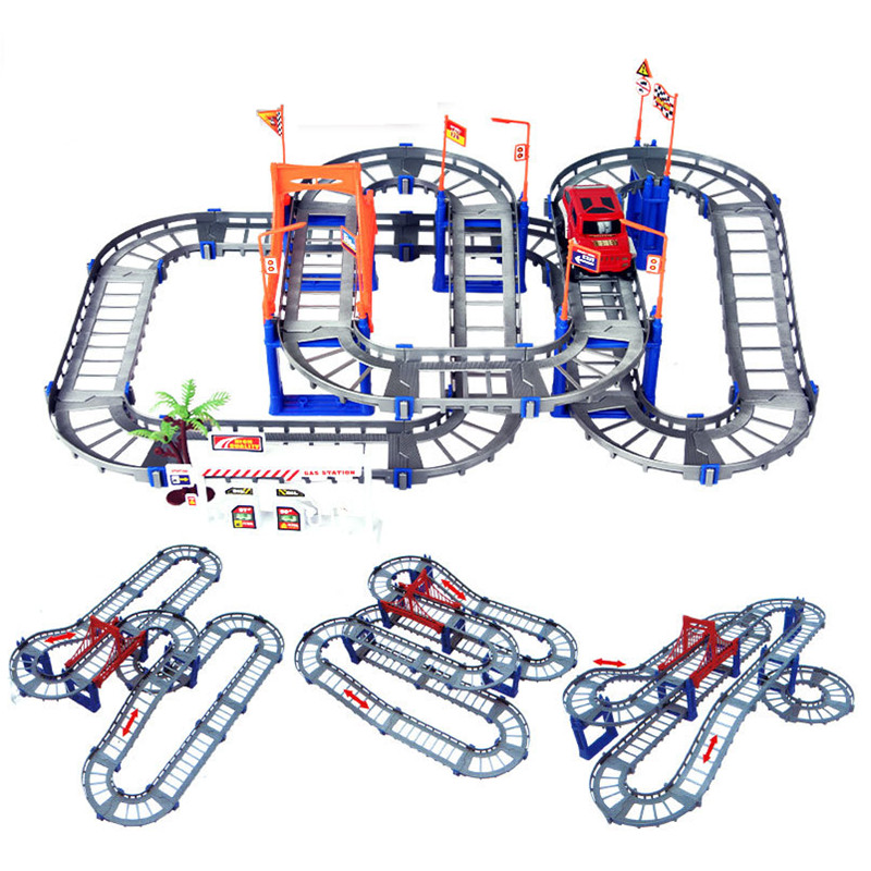 Educational Variety Track Car Racing Set Assembling DIY Building Kit Toys for Children Kids Best Gifts with Retail Box