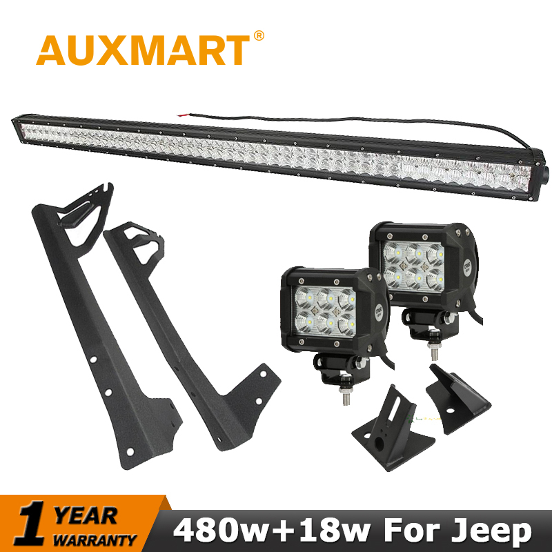 Auxmart LED Light Bar for Jeep Wrangler JK 2007~2017 Straight 5D 480W 50 LED Work Light 4 40W/18W/36W fog lamp +Mount Brackets left hand a pillar swith panel pod kit with 4 led switch for jeep wrangler 2007 2015