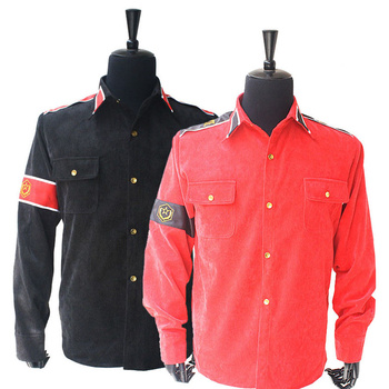 Rare MJ Michael Jackson RED & Black CTE Corduroy Outwear Classic England Retro antiwar Shirt Jacket With arm-bands In All Size