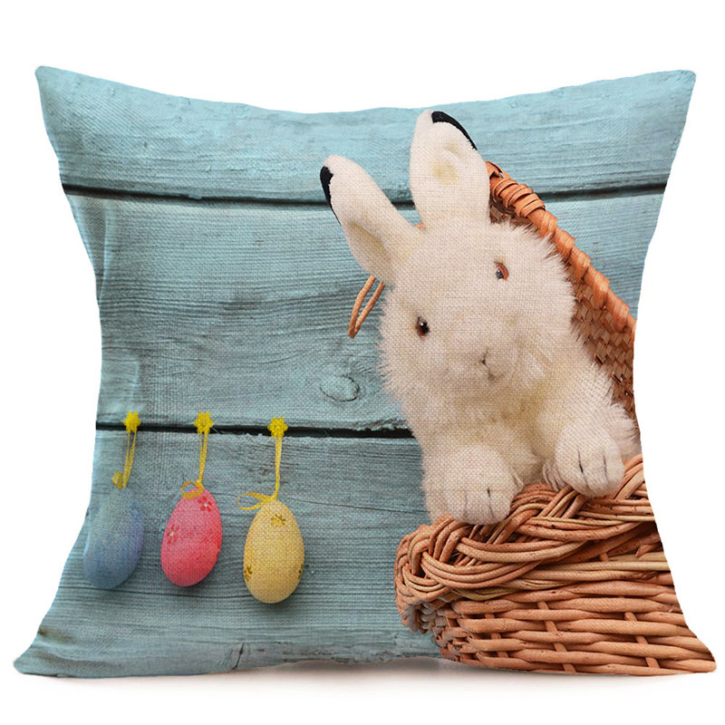 Nordic Cute Easter Bunny eat green grass wholesale wedding gift cushion cover home car office sofa decorative party pillow case in Cushion Cover from Home Garden