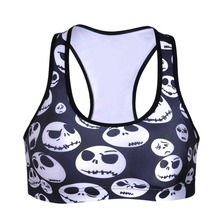 0057 Summer Sexy Girl Women skull face jack Nightmare 3D Prints Padded Push Up Gym Vest Top Chest Running Sport Yoga Bras