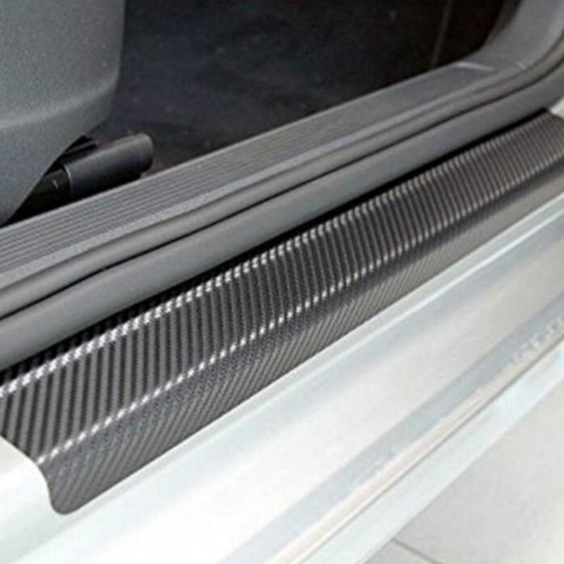 4 шт. 60x6,7 см Автомобильная наклейка s Универсальная Накладка на порог против царапин из углеродного волокна Автомобильная наклейка на дверь ...