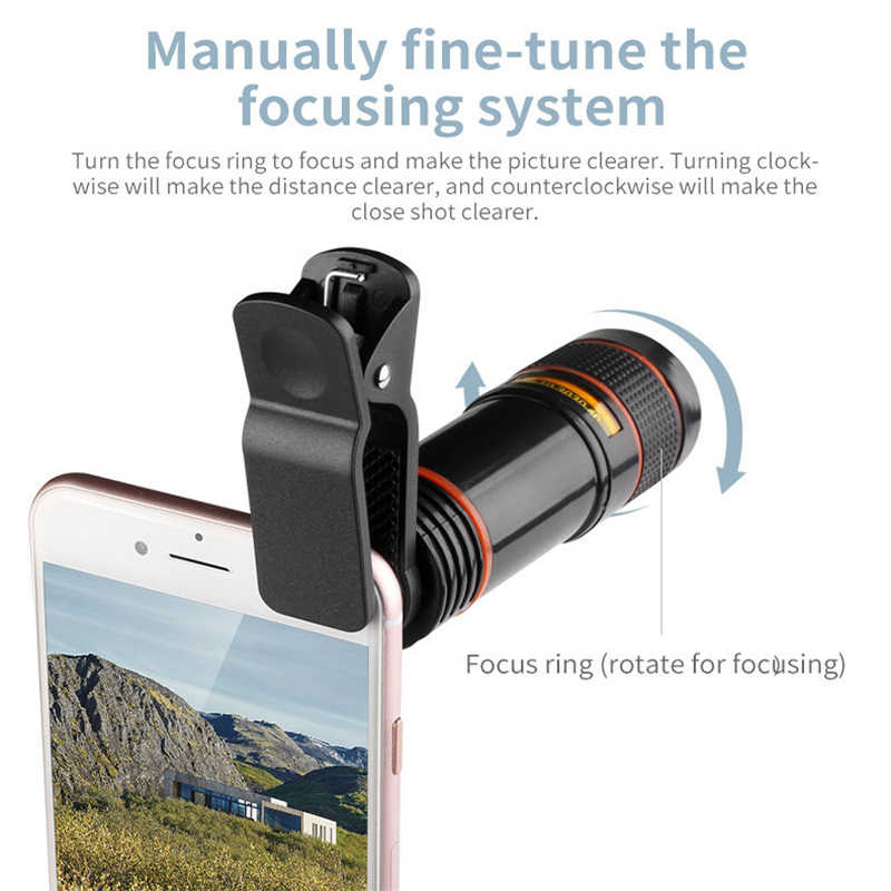 964750042b54aa ... 12x Optical Phone Telescope Universial Mobile Phone Camera Lens for  Smartphone ...