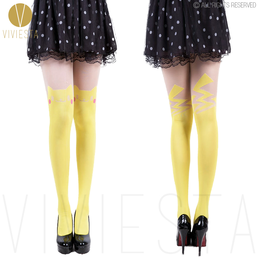 cute pikachu colored tattoo tights 60d women gir - Halloween Tights For Women
