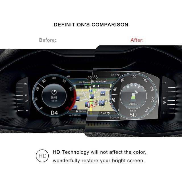 RUIYA protecteur décran de voiture pour Skoda Octavia/kodiaq/superbe écran de tableau de bord LCD, film de protection décran en verre trempé 9H