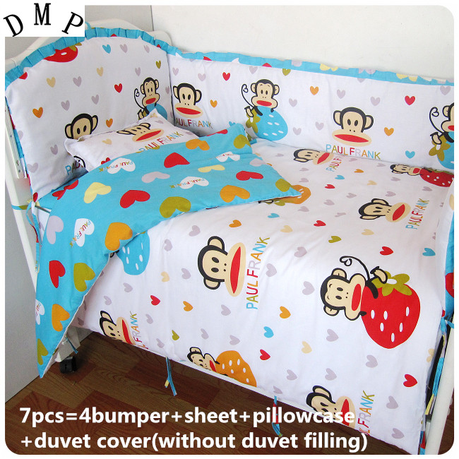 Discount! 6/7pcs baby bedding set baby bed set fox cartoon baby crib set Quilt Cover  ,120*60/120*70cm discount 6 7pcs lion baby boy crib sets baby bedding set crib quilt cover 120 60 120 70cm