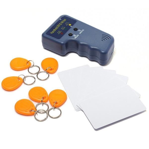 RFID Handheld 125KHz EM4100 ID Card Copier Writer Duplicator with 6 Writable Cards + 6 key tag