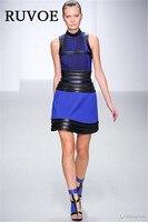 2017 Defile Kolsuz Üst Kalite Mavi Siyah Deri A-line Rayon Mini Bandaj Elbise Zarif Ünlü Parti Elbise YQ-40