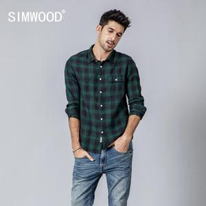Image 3 - SIMWOOD 2020 summer new shirt men plaid 100% linen shirts fashion casual breathable cool plus size brand clothing 190203