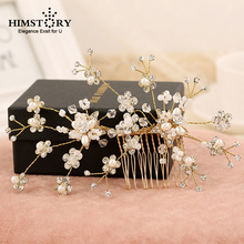Gold Flower Rhinestone Pearls Wedding Hair Comb Bridal Headpieces Crystal Accessories Bridesmaids Women Hairpins