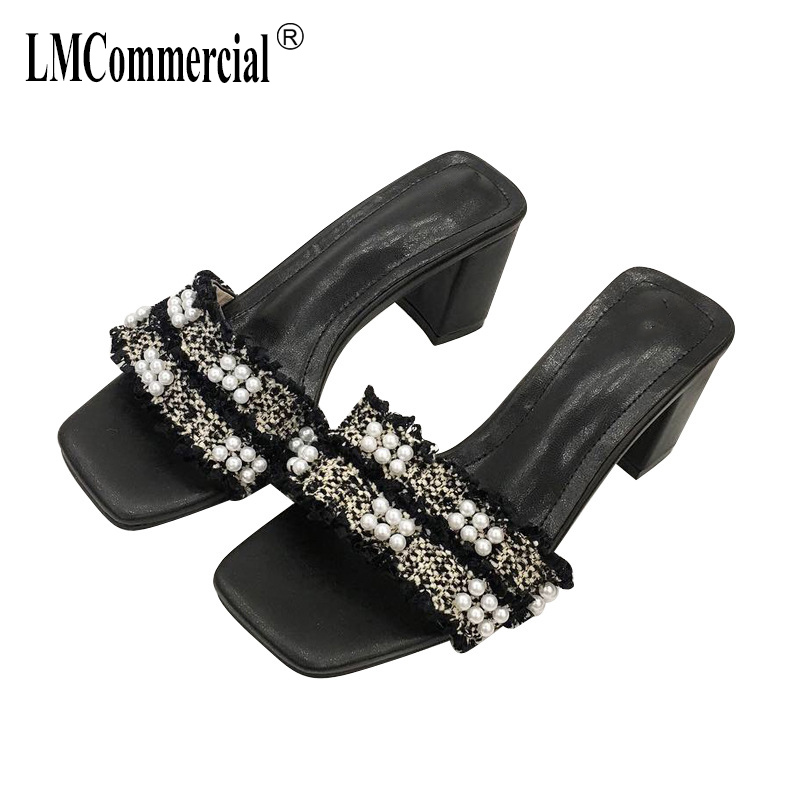 Pearl Slippers Womens Summer Fashion luxury shoes women designers High Heels Summer Shoes Fur Sexy Peep Toes Woman