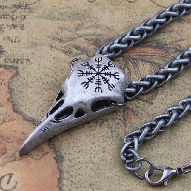 Vikings Raven Skull Pendant Necklace