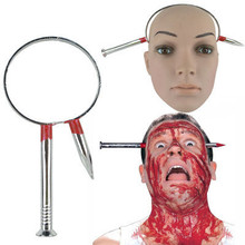 Halloween make-up dance performance supplies whole people horror props nail piercing through head novelty thriller magic prank