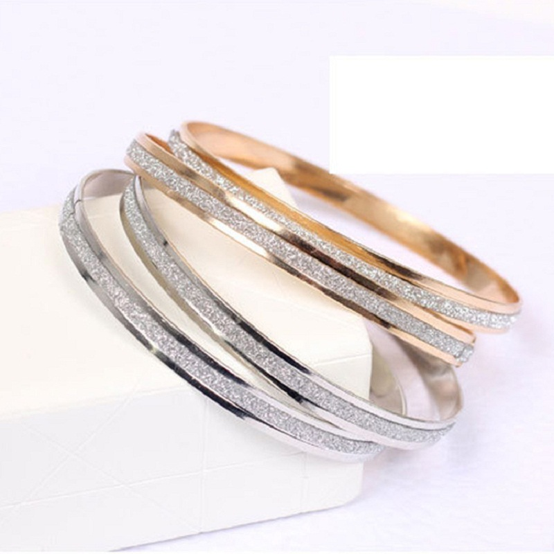 Linnor New Fashion Scrub Rose Gold Bangle&Bracelet for Women High Quality Cuff Wristband Bracelt Cordao Pulseras Mujer Braslet