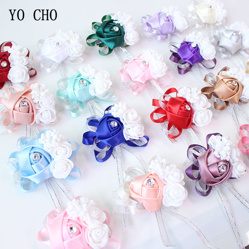 YO CHO Wrist Corsage Bridesmaid Bride Wrist Corsage Bracelet Supplies Silk Roses White Wrist Flower Marriage Wedding Accessories