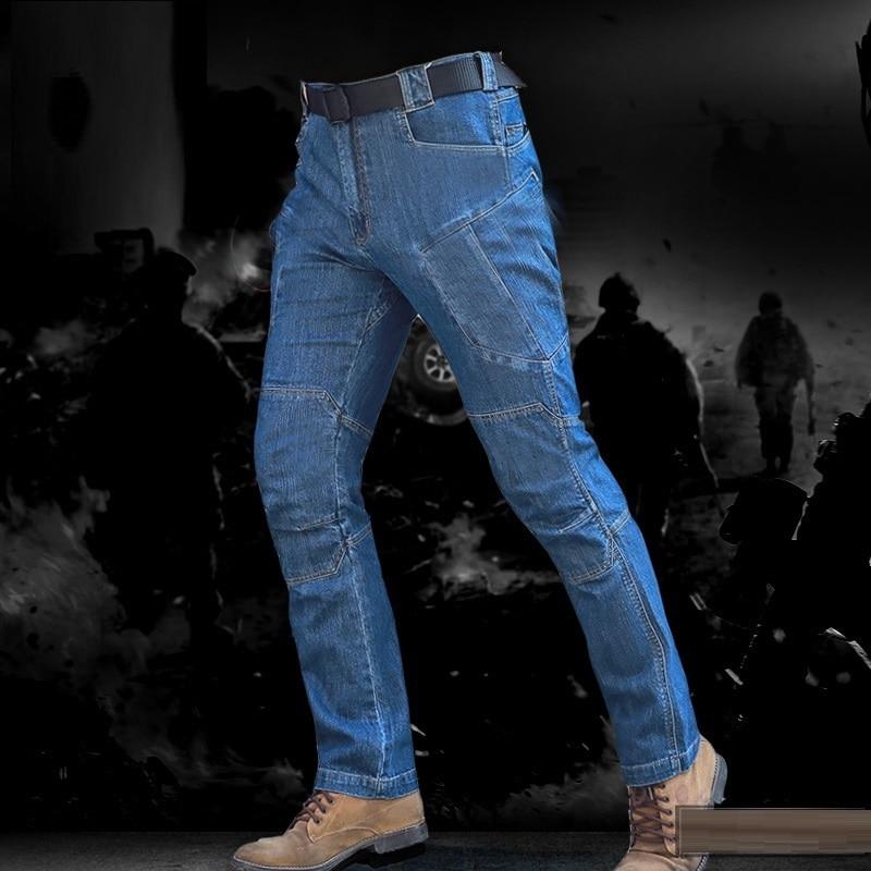2018 New Arriving Men Tactical Denim Pants Stretchy Jeans Trousers Comfortable Full Length Multi Pockets Commuter Men Leggings