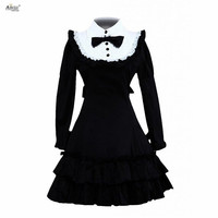 Classic Lolita Dress Womens Cotton Black Long Sleeves Ruffle Classic Princess Dresses Lolita Dress Cosplay Costumes XS XXL