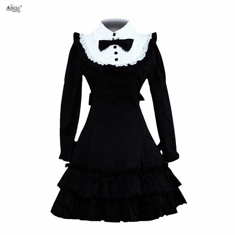 Robe Lolita classique femme coton noir manches longues à volants robes princesse classique robe Lolita Costumes Cosplay XS-XXL