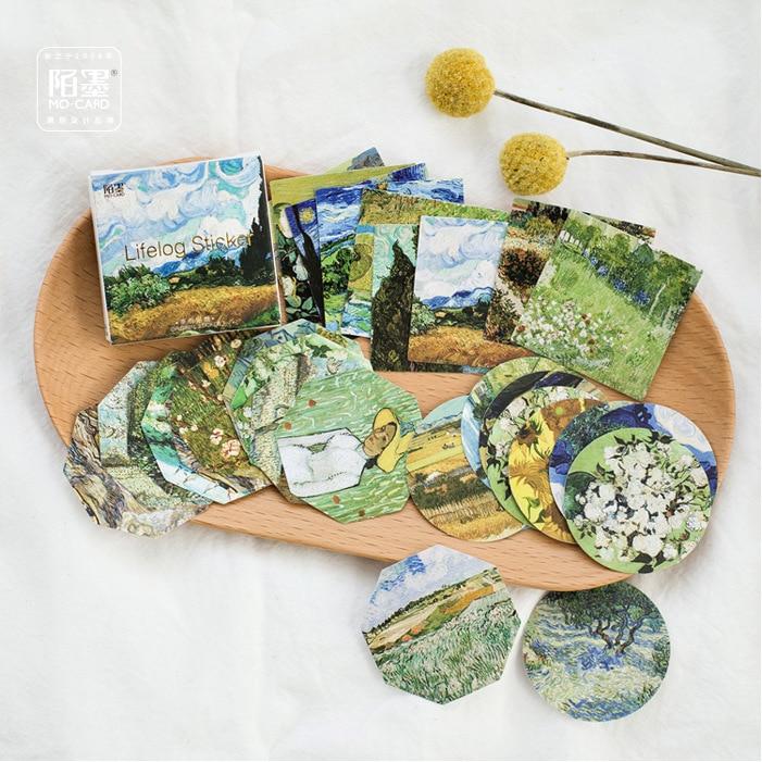 JIANWU 45sheets Kawaii Van Gogh Oil Painting Decoracion Bullet Journal Stickers Scrapbooking Cute Stationery Office Supplie