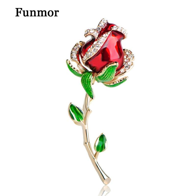 Funmor Enamel Esmalte Red Rose Brooches For Women Alloy Flower Weddings Banquet Party Suit Hijab Pins Brooch Valentine Day Gift 2018 women scarf muslim hijab scarf chiffon hijab plain silk shawl scarveshead wrap muslim head scarf hijab