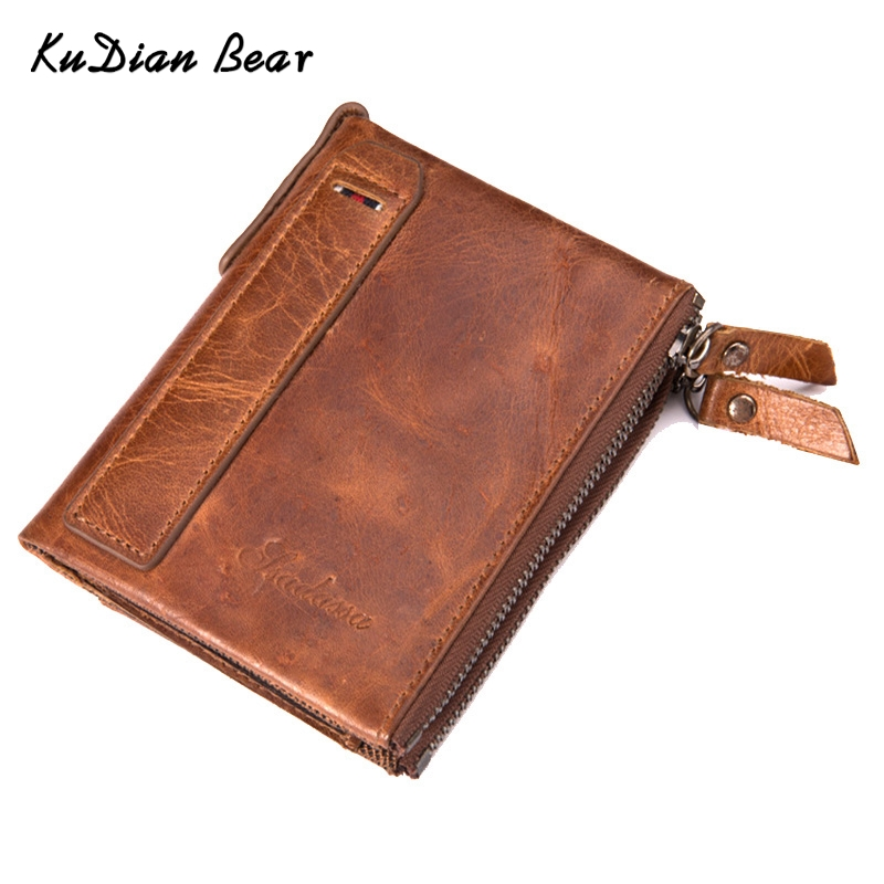 KUDIAN BEAR 100% Genuine Leather Men Wallet Small Men Walet Zipper Male Short Coin Purse Brand High Quality BID216 PM49 ...