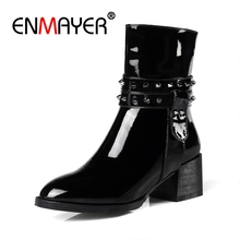 ENMAYER Big Size31-47 Women Real Leather Half Short Boots Rivet Buckle High Heel Boots Warm Fur In Winter Shoes Snow Women CR615 цены онлайн
