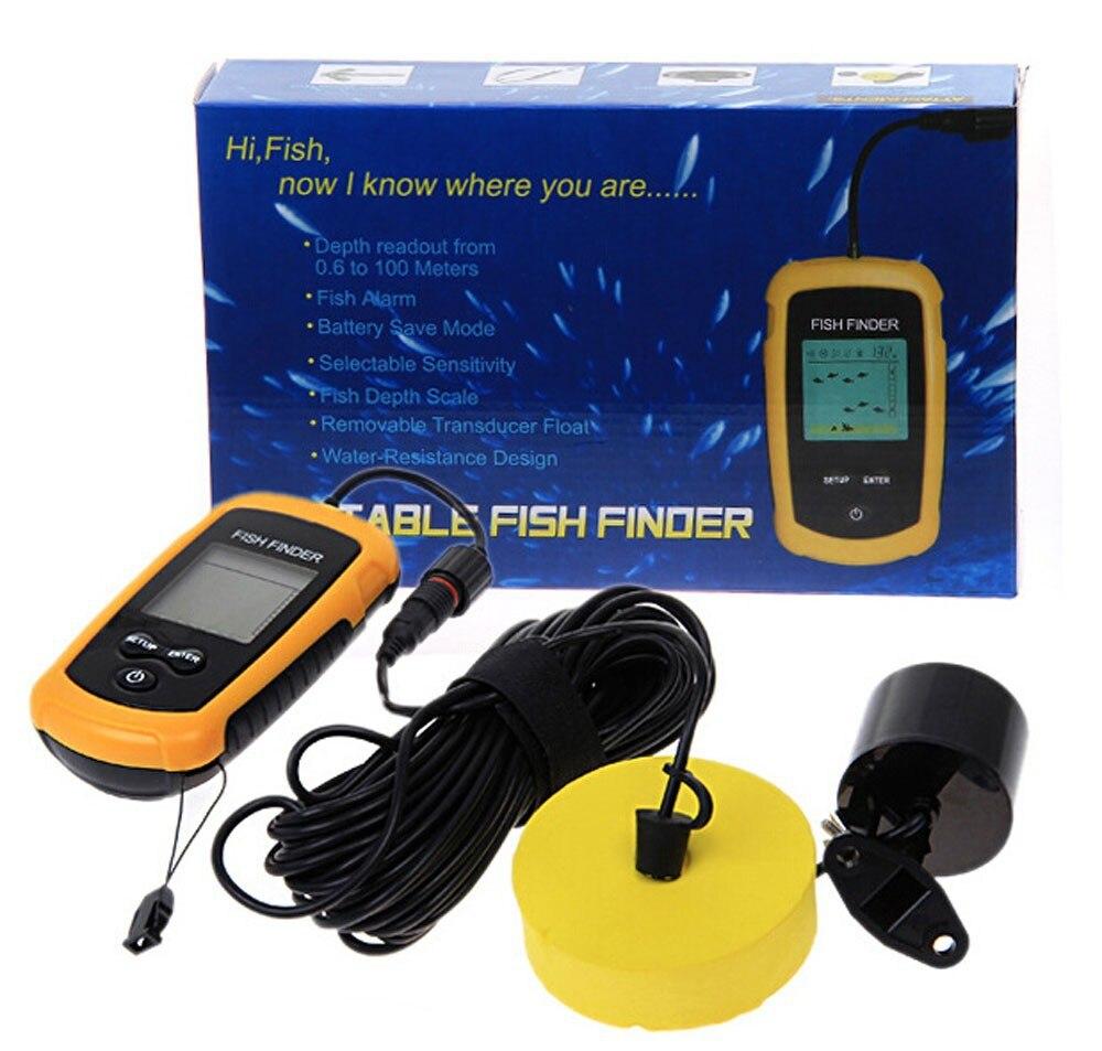 Портативный рыболокатор, Лаки FF1108 1 глубина воды и температура эхолот с проводным гидролокатором датчик рыболокатор s