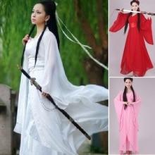 Для женщин kong fu косплей костюм феи Hanfu одежда китайское традиционное древнее платье танцевальная сценическая Ткань Классический nv белый костюм