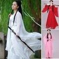 Женщины конг-фу Косплей костюм феи Hanfu одежда Китайский Традиционный древний dress сценический танец ткань Классический nv белый костюм