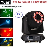2XLot Spot Lyre 120W Gobo LED Moving Head Lights 9X12W RGBWA+UV 6IN1 LED Moving Heads Perfect For Stage Lighting Theater Partys